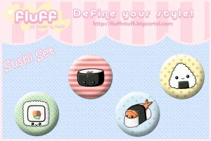 Sushi Button Set by Fluffntuff