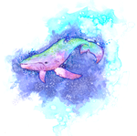 Rainbow space whale by SourKiss