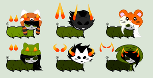 .:Homestuck:. OLIVE BLOODED GRUB ADOPTS [0/6] by sp00kies
