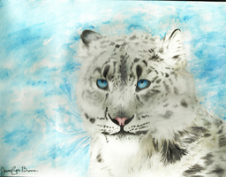 ~Watercolor Snow leopard~ by pandaloverlol