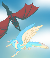 Fakemon: Aveon and Drakeon by persephone89