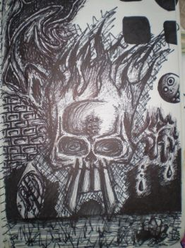 Skull with flames quickie by Simmo-Mylo
