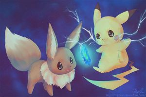 Pikachu and Eevee by Amaiyu