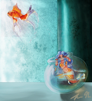 Goldfish Eviction by mechantechatonne