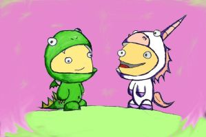 Crazy kids in animal suits by idrawbad