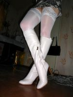 white shining leather boots by Malinka-N