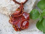 Carnelian flower wire wrapped pendant by IanirasArtifacts