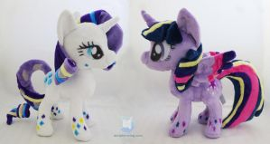 Rainbow Power Rarity and Twilight Plush by dollphinwing