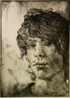 dry point self portrait by Broken-Lithium