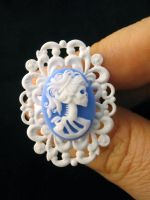 Blue Skeleton Cameo Ring by egyptianruin