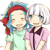 doodle - kid!Levy and kid!Lisanna by blanania