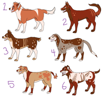 Canine Adoptables OPEN 5 points each by LordEnglishsWaifu