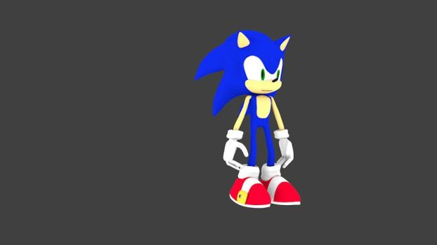 Sonic The Hedgehog 3d model, I made in Blender. by evilronnie42