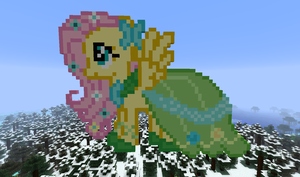 Fluttershy in gala dress in minecraft by Dutchcrafter