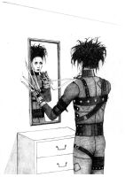 Edward Scissorhands looking in the mirror by DayWeAntArt