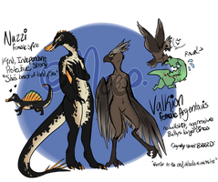 [Temp Character Refs] ARK: Nazzi n Valkion by MystikMeep