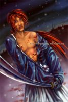 Fanart - Blood and Kenshin by fongmingyun