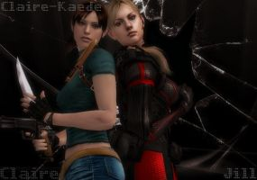 Claire Redfield and Jill Valentine by Claire-Kaede