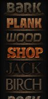 Wooden Text Styles for Photoshop by xstortionist
