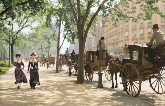 Cab Stand in Madison Square Garden, ca 1900 by Mygrapefruit