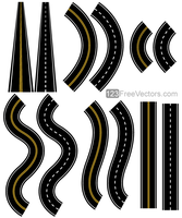 Roads Vector Pack by 123freevectors