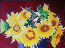 SunFlowers Purple Vase by curlytopart