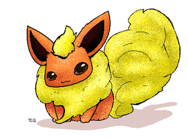 FLUFFY Flareon by TheLonelyQueen
