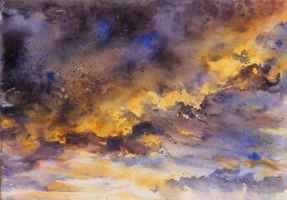 sky - watercolor practice 2 by Katarzyna-Kmiecik