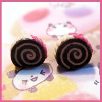 Pink Cake Roll Studs by cherryboop