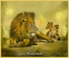 Lion and Cubs painting by Lynne-Abley-Burton