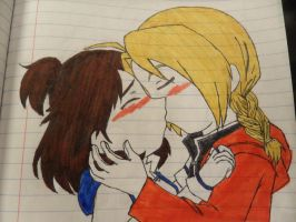 Edward and Kira Kissing Colored by sally219