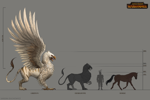 TW:WH Concept Art - Griffon Demigryph Scale by telthona