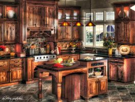 Wooden Kitchen HDR by evrengunturkun