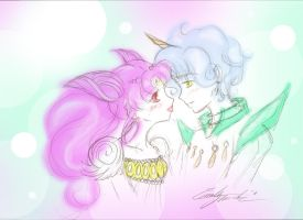 Chibi Usa and Helios by oceanfoam