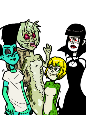 28. A Group of Monster Girls Together