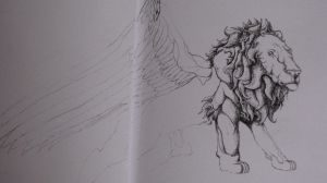 Winged Lion Sketch by TheFranology