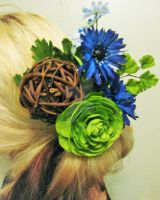 Exotic wooden ball hair piece by SomethingTeal