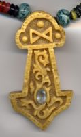 Carved Amber Thors hammer by Bonecarverpm