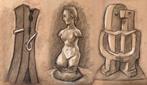 Study of Scuplture at VMFA on tan paper by rawjawbone
