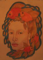 Head and Goldfish by Kavring