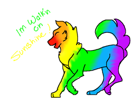 Butchered Rainbow dog by CalicoWoolfe