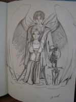 Early drawing of Xan and Kes by Nalusa