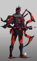 [COMMISSION] Magxus ninja cyborg red by sharknob