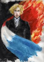 Enjolras in the flames by ColonelDespard