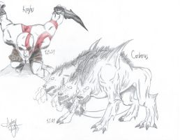 God Of War Sketches by Audrey-Taft