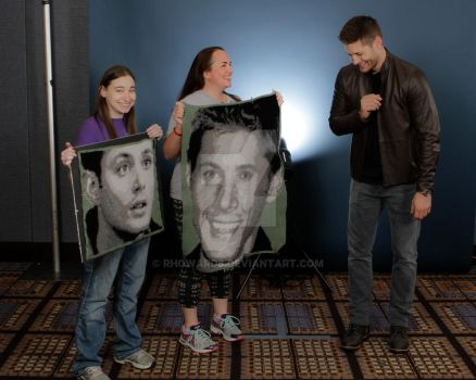 Jensen and his crocheted portraits by rhoward8