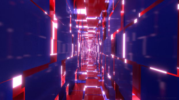 Red, Pink and Blue Mirrored Tunnel - Wallpaper by Dr-Pen