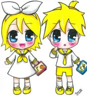 Rin and Len's 1st school day by Nisai