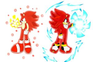 Super Sayain God Sonic and Shadow (Incomplete) by Shadic68