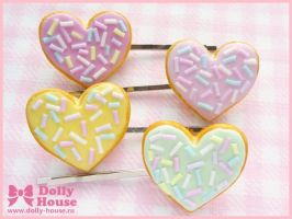 Heart Cookies Hairpins by Dolly House by SweetDollyHouse